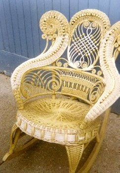 rams horn wicker rocker repaired