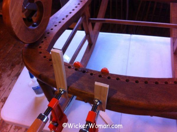 broken rail on cane rocker