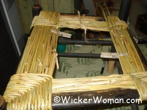 hand-twisted bulrush chair in process
