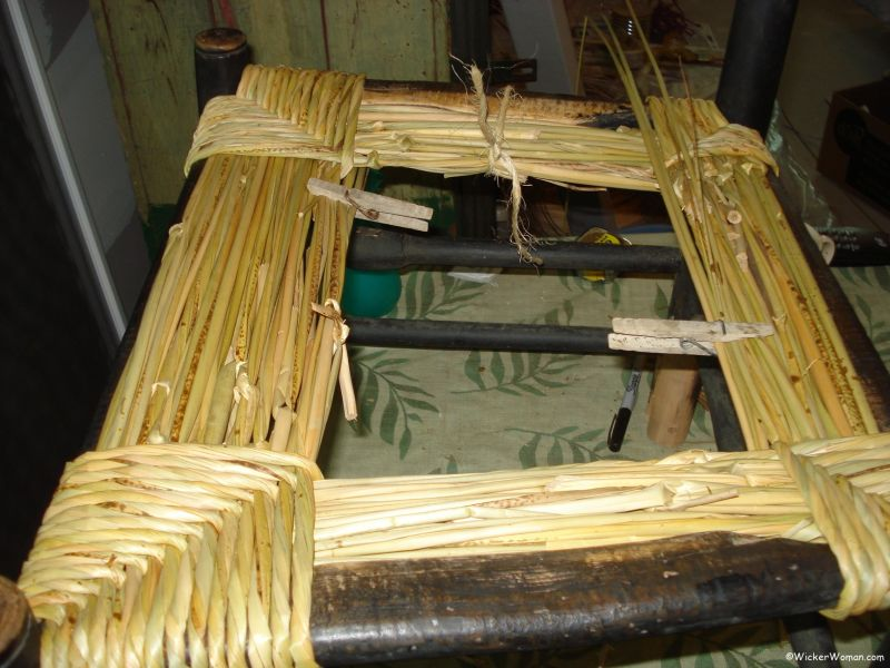 Hand-twisted bulrush seat in process, woven by The Wicker Woman®--Cathryn Peters