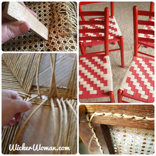 Collage of four seat weaving techniques