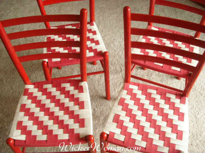 Set of Gio Ponti style chairs with red and white Shaker Tape woven seats