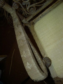 Wakefield Rattan Company chair arm repaired with smoked reed