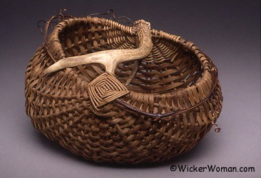 Smoked Reed-Grapevine Antler Basket