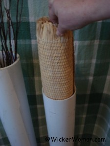 Inserting cane webbing into PVC soaking tube