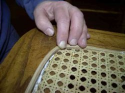 spline applied cane webbing seat