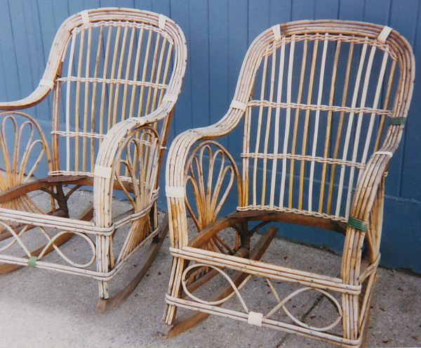 Pair of stick wicker rattan rockers after repairs.