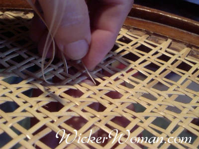 Closeup of Cathryn's Hole-to-Hole Chair Caning Technique
