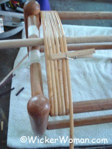 caning tension rods--setting the warp