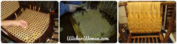 The three types of chair caning--hole cane, cane webbing, and wide binding cane