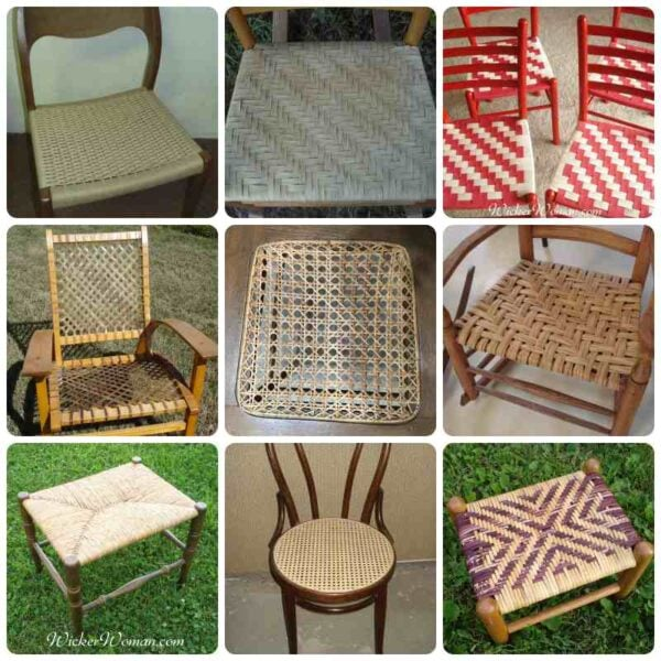 A collage showing various chair seat weaving techniques, designs, and materials.