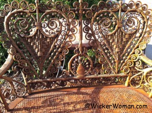 Victorian wicker heart-shape settee