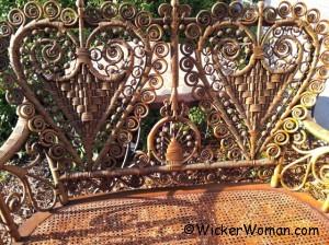 Victorian wicker heart-shape settee