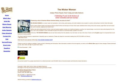 WickerWoman.com homepage in 2000