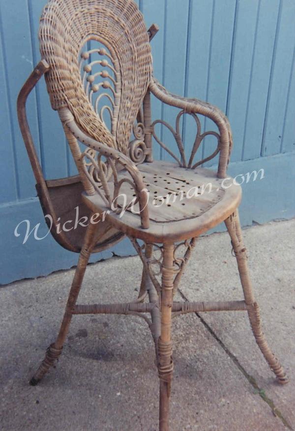 Victorian wicker highchair before repairs