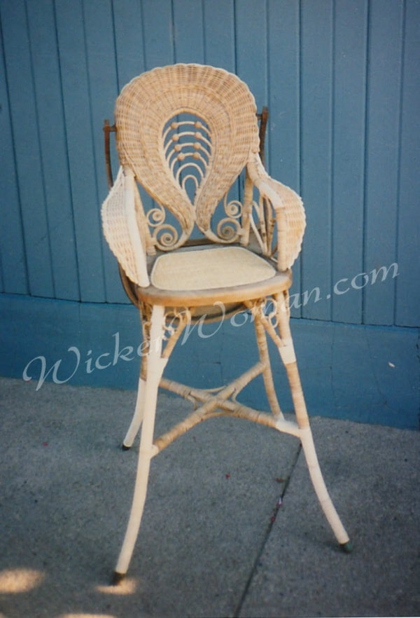 Victorian wicker highchair restored Peters