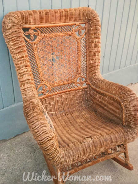 Star of David cane back Victorian rocker before repairs