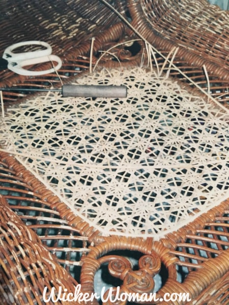 Star of David Cane weaving process in Victorian wicker rocker back is almost finished!