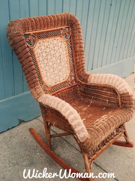 Repairs to the Star of David cane back and serpentine arms and seat strands have all been done in this Victorian wicker rocker