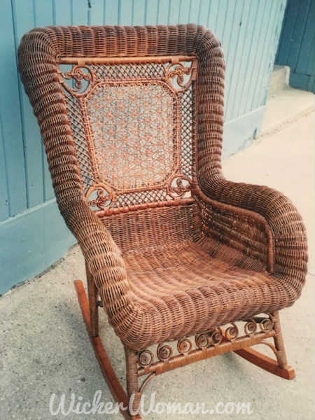 Restoration Done!--Star of David cane back woven and serpentine arms and seat strands have all been done in this Victorian wicker rocker