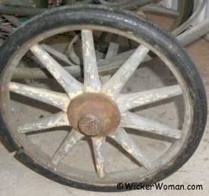 wheel from wicker buggy